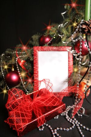Frame from christmas ornaments. Isolation on black photo