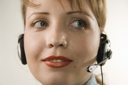 Switchboard Operator - customer support. White background.  Stock Photo - 4171416