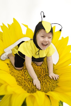 toughness: Cute little girl in bumble bee costume.