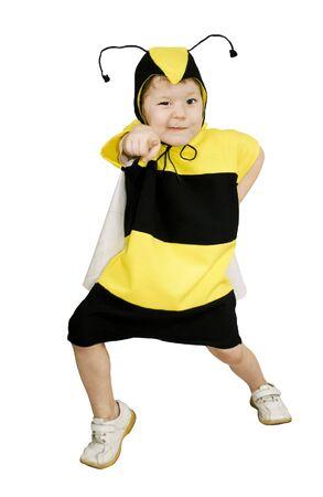Cute little girl in bumble bee costume. photo