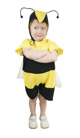 Cute little girl in bumble bee costume.
