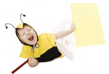 Cute little girl in bumble bee costume. Stock Photo - 4540655