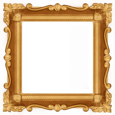 Empty sguare gold frame isolated on pure white background.  photo