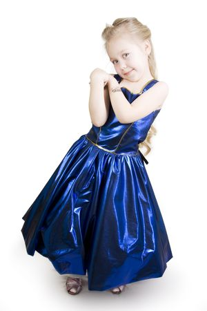Little girl dressed as a pretty blue princess curtsy. Stock Photo - 6782271