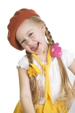 skirt up: Fashionable little girl grimace.