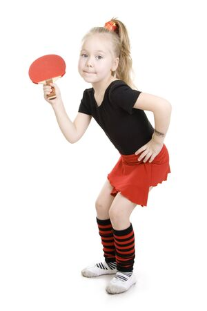 Little girl playing  ping-pong (Table tennis). Stock Photo