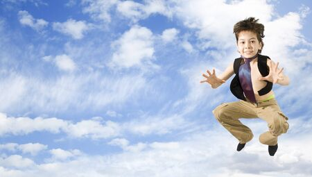 Happy boy Jumping in the sky Stock Photo - 7808753