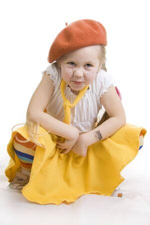 grimacing: Fashionable little girl grimacing. Stock Photo