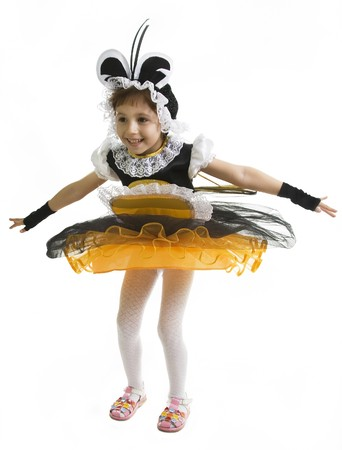 Small girl is dressed at bee costume photo