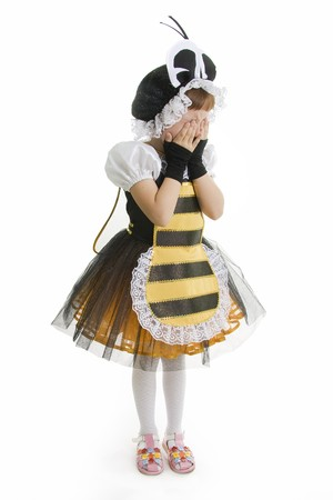 Niña en vestidos en gritos de traje de abeja  Foto de archivo - 7968085