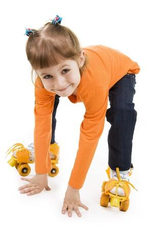 Dziewczynka na Wrotki Zdjęcie Seryjne