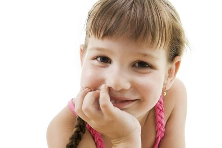 Fan little girl smiling. Isolated white. Stock Photo - 7978238