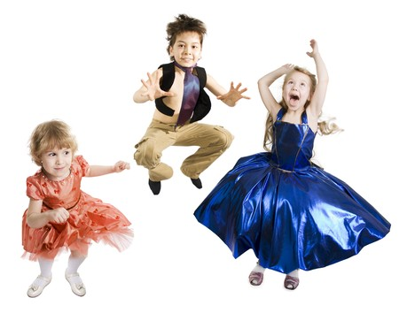 little girl dancing: Group of jumping children on a white background