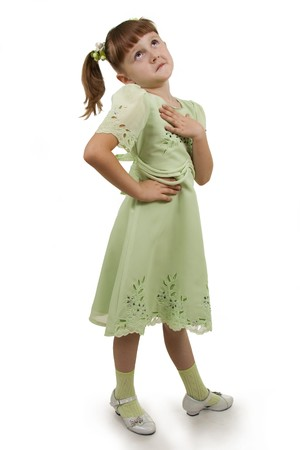 Llittle girl to the Full Length Gesturing on a white background.