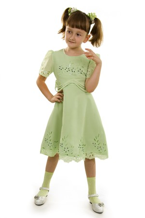Llittle girl to the Full Length Gesturing on a white background. photo