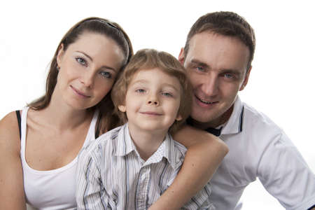 Young European family from three persons - mother, father and son. Stock Photo - 8612468