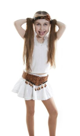 long tongue: Fan little girl smiling. Isolated white. Stock Photo