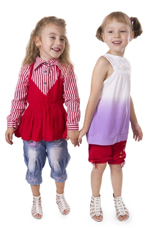 playful behaviour: Two fun girls of the girlfriend play. White isolated.