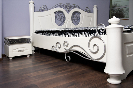 White bed in modernist style photo