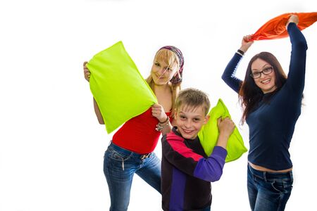brother sister fight: Happy children in a pillow fight
