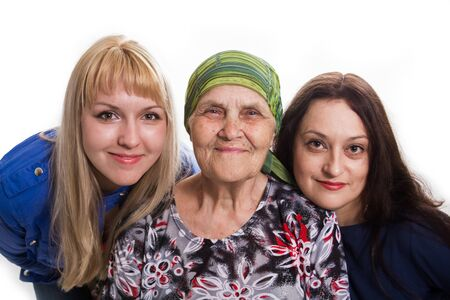 granddaughters: Grandmother both two granddaughters positive and happy, isolated.