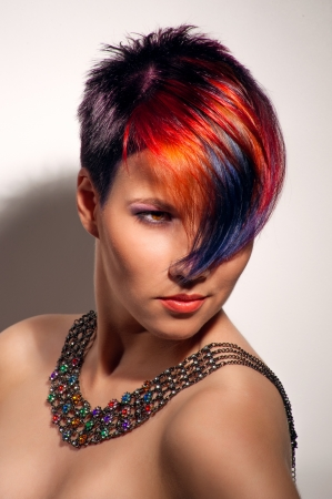 portrait of a beautiful girl with dyed hair, professional hair coloring Stock Photo