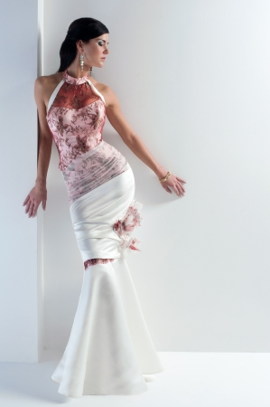 luxe bride in form-fitting dress, catalog photo Stock Photo
