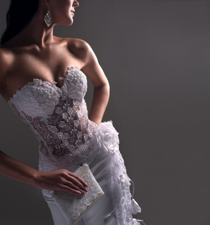 luxe bride in form-fitting dress, catalog photo Stok Fotoğraf