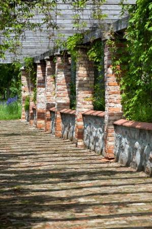 Terrace of a brick house photo