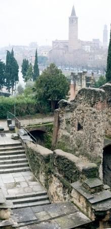 Cobweb morning in Verona, Italy With Santa Anastasia Church and the Teatro romano photo