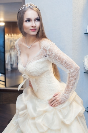 Beautiful blonde haired woman in bridal dress