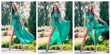 windblown: Girl in a silk dress  Collage of three pictures Stock Photo