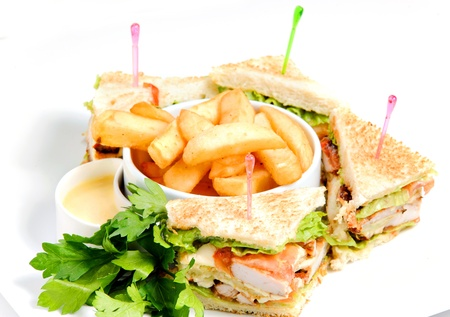 Fried potatoes and sandwiches photo