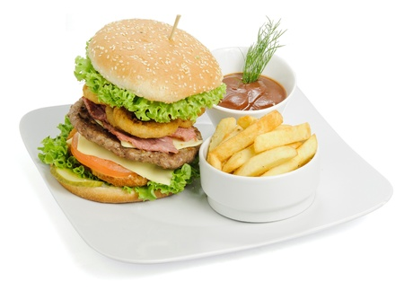 Burger and fries photo