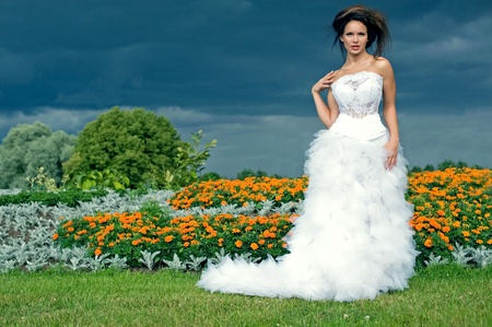 Bride on a background of black clouds and flower beds photo