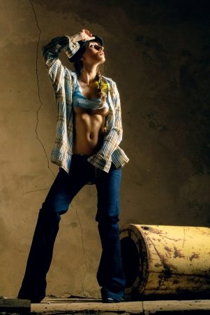 Girl in a country fashion style photo