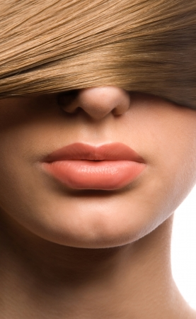 Lips, nose and hair photo