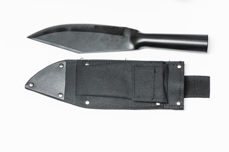 shrugged: Army knife with scabbard isolated on the white background
