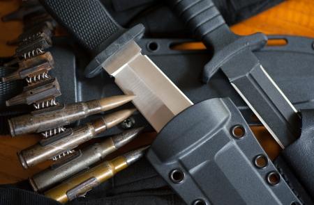 scabbard: Cuchillos militares y la vaina en el fondo de madera