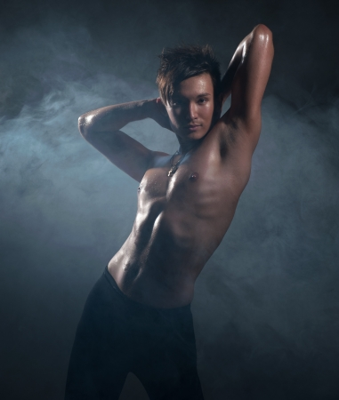 Man dancing ballet in studio photo