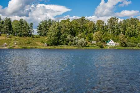 gauja: summer landscape with river lake and forest