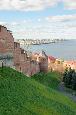 Nizhny Novgorod Kremlin on Volga river Stock Photo