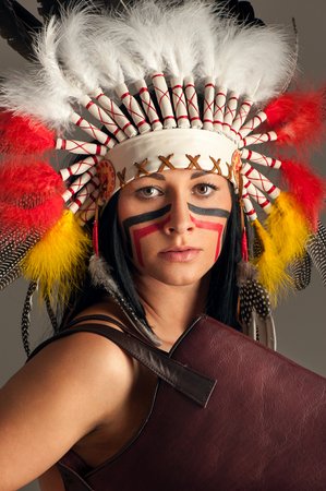 American Indian girl with bag Stock Photo - 24260704