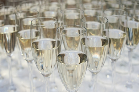 Close up of many champagne glasses Stock Photo