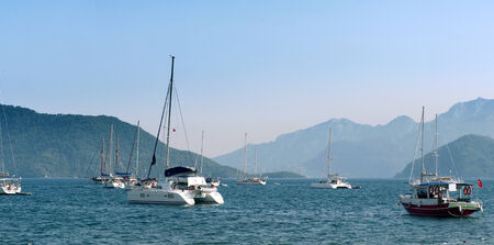 Bay with yachts in Marmaris Stock Photo