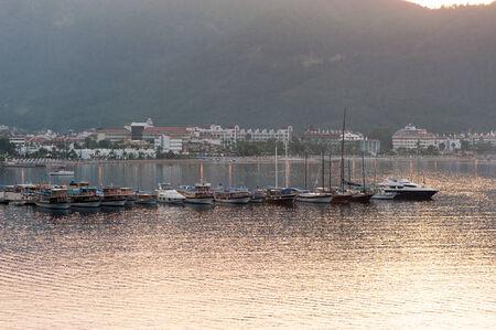 Boats in Coastline in Marmaris Icmeler, Turkey