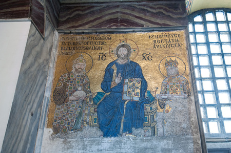 Byzantine mosaic showing Jesus Christ is sitting on a throne decorated with jewels, Hagia Sophia