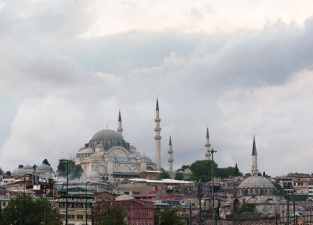 Beautiful view of Suleymaniye Mosque at Golden Horn, Istanbul photo