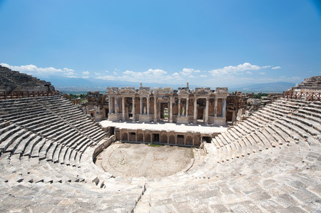Ancient amphitheater in Pamukkale Stock Photo