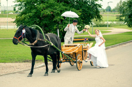 Romantic Bride and groom in carriage with horse on wedding day photo
